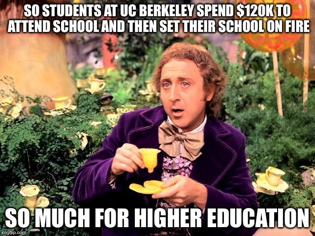 SO STUDENTS AT UC BERKELEY SPEND $120K TO ATTEND SCHOOL AND THEN SET THEIR SCHOOL ON FIRE SO MUCH FOR HIGHER EDUCATION | image tagged in willy | made w/ Imgflip meme maker