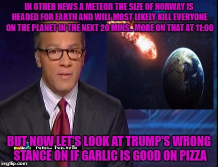 IN OTHER NEWS A METEOR THE SIZE OF NORWAY IS HEADED FOR EARTH AND WILL MOST LIKELY KILL EVERYONE ON THE PLANET IN THE NEXT 20 MINS.. MORE ON | made w/ Imgflip meme maker