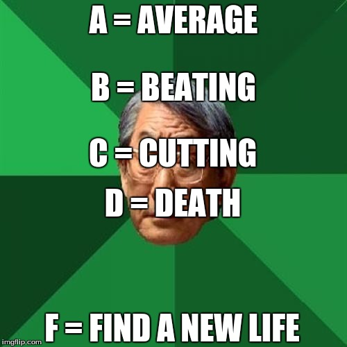 High Expectations Asian Father Meme | A = AVERAGE F = FIND A NEW LIFE D = DEATH B = BEATING C = CUTTING | image tagged in memes,high expectations asian father | made w/ Imgflip meme maker