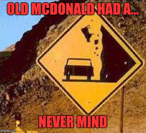 Falling Cows | OLD MCDONALD HAD A... NEVER MIND | image tagged in falling cows,memes | made w/ Imgflip meme maker