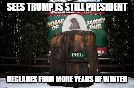 SEES TRUMP IS STILL PRESIDENT DECLARES FOUR MORE YEARS OF WINTER | image tagged in trumpgroundhogday | made w/ Imgflip meme maker