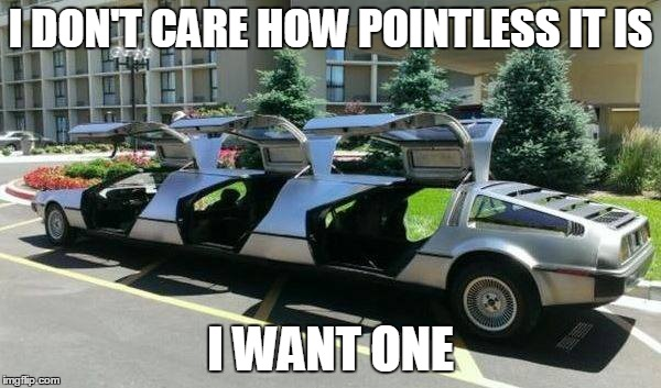 Come on, who doesn't need a twelve-passenger time machine? | I DON'T CARE HOW POINTLESS IT IS I WANT ONE | image tagged in back to the future,limo,pointless | made w/ Imgflip meme maker