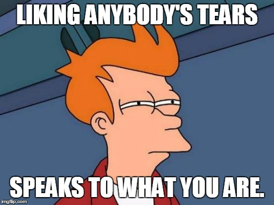 Futurama Fry Meme | LIKING ANYBODY'S TEARS SPEAKS TO WHAT YOU ARE. | image tagged in memes,futurama fry | made w/ Imgflip meme maker