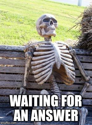 Waiting Skeleton Meme | WAITING FOR AN ANSWER | image tagged in memes,waiting skeleton | made w/ Imgflip meme maker