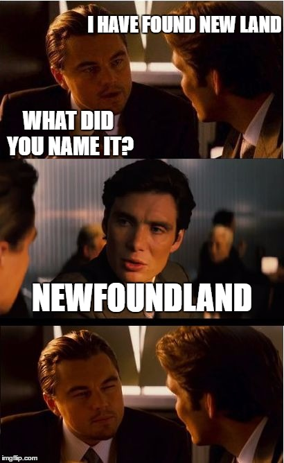 Inception | I HAVE FOUND NEW LAND NEWFOUNDLAND WHAT DID YOU NAME IT? | image tagged in memes,inception,newfoundland | made w/ Imgflip meme maker