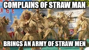 strawman | COMPLAINS OF STRAW MAN BRINGS AN ARMY OF STRAW MEN | image tagged in strawman | made w/ Imgflip meme maker