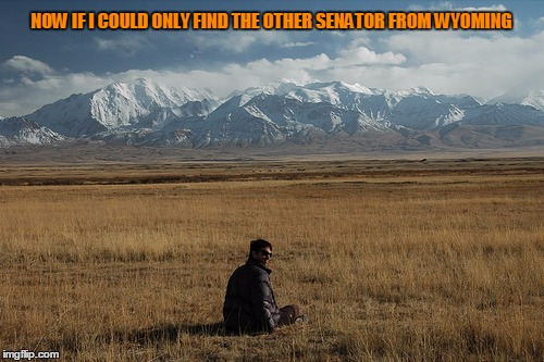 NOW IF I COULD ONLY FIND THE OTHER SENATOR FROM WYOMING | made w/ Imgflip meme maker