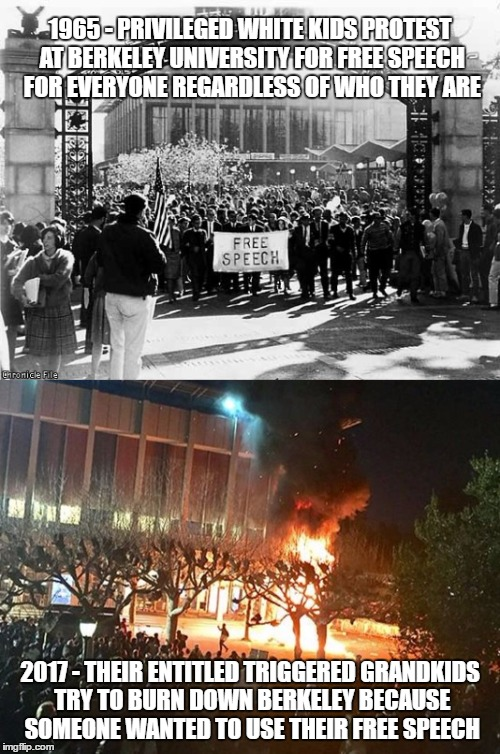 TRIGGERED! COMPLETELY TRIGGERED! | 1965 - PRIVILEGED WHITE KIDS PROTEST AT BERKELEY UNIVERSITY FOR FREE SPEECH FOR EVERYONE REGARDLESS OF WHO THEY ARE 2017 - THEIR ENTITLED TR | image tagged in berkeley,funny,memes,politics,milo yiannopoulos,funny memes | made w/ Imgflip meme maker