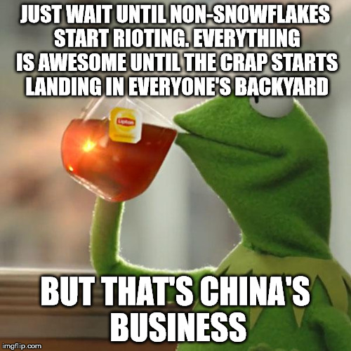 But Thats None Of My Business Meme | JUST WAIT UNTIL NON-SNOWFLAKES START RIOTING. EVERYTHING IS AWESOME UNTIL THE CRAP STARTS LANDING IN EVERYONE'S BACKYARD BUT THAT'S CHINA'S  | image tagged in memes,but thats none of my business,kermit the frog | made w/ Imgflip meme maker