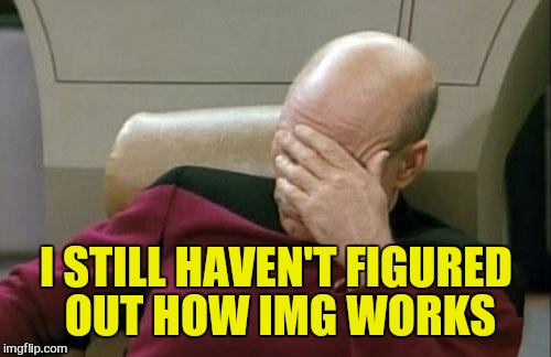 Captain Picard Facepalm Meme | I STILL HAVEN'T FIGURED OUT HOW IMG WORKS | image tagged in memes,captain picard facepalm | made w/ Imgflip meme maker
