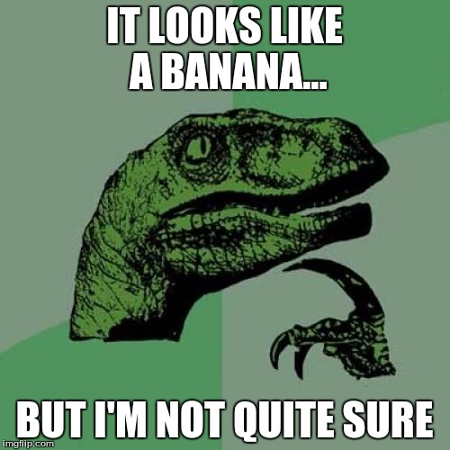 Philosoraptor Meme | IT LOOKS LIKE A BANANA... BUT I'M NOT QUITE SURE | image tagged in memes,philosoraptor | made w/ Imgflip meme maker