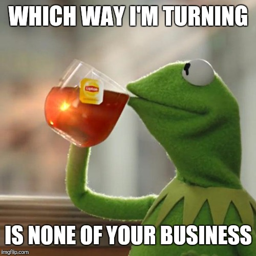 But Thats None Of My Business Meme | WHICH WAY I'M TURNING IS NONE OF YOUR BUSINESS | image tagged in memes,but thats none of my business,kermit the frog | made w/ Imgflip meme maker