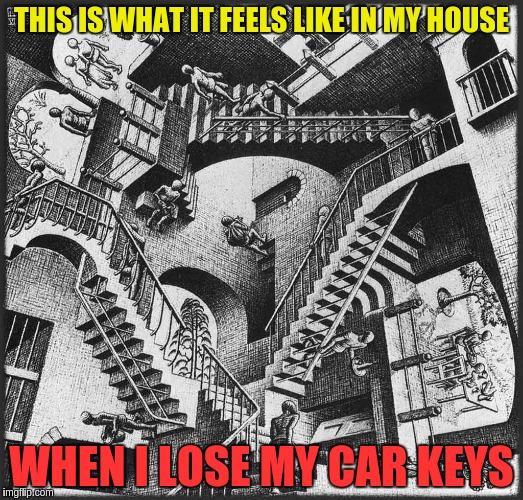 THIS IS WHAT IT FEELS LIKE IN MY HOUSE WHEN I LOSE MY CAR KEYS | image tagged in stairs everywhere | made w/ Imgflip meme maker
