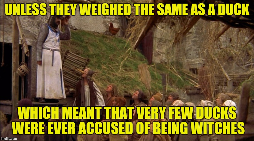 UNLESS THEY WEIGHED THE SAME AS A DUCK WHICH MEANT THAT VERY FEW DUCKS WERE EVER ACCUSED OF BEING WITCHES | made w/ Imgflip meme maker