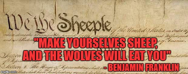 "- BENJAMIN FRANKLIN ""MAKE YOURSELVES SHEEP, AND THE WOLVES WILL EAT YOU"" 