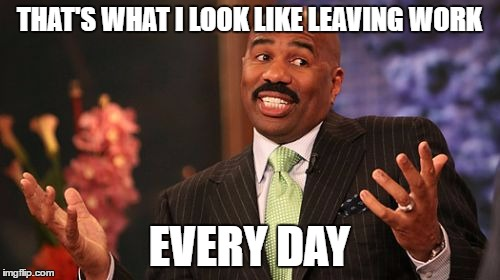 Steve Harvey Meme | THAT'S WHAT I LOOK LIKE LEAVING WORK EVERY DAY | image tagged in memes,steve harvey | made w/ Imgflip meme maker