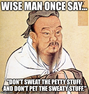"wise confusius | WISE MAN ONCE SAY... ""DON'T SWEAT THE PETTY STUFF, AND DON'T PET THE SWEATY STUFF."" 