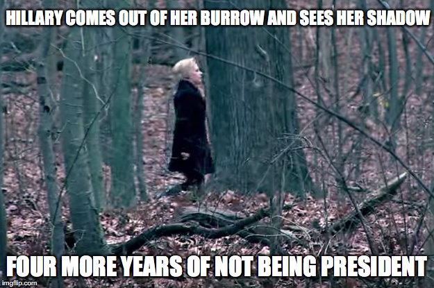 HILLARY COMES OUT OF HER BURROW AND SEES HER SHADOW FOUR MORE YEARS OF NOT BEING PRESIDENT | image tagged in hillary clinton,political,funny | made w/ Imgflip meme maker