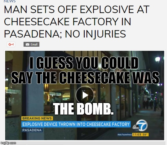 sorry, i'm just trying to be funny... |  I GUESS YOU COULD SAY THE CHEESECAKE WAS; THE BOMB. | image tagged in bad pun dog,puns,bad pun trump,bad pun,sorry i annoyed you,funny memes | made w/ Imgflip meme maker