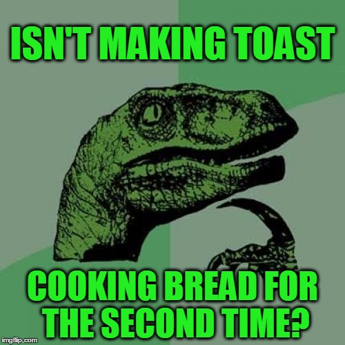 Philosoraptor Meme | ISN'T MAKING TOAST COOKING BREAD FOR THE SECOND TIME? | image tagged in memes,philosoraptor,toast,bread,toaster,funny | made w/ Imgflip meme maker