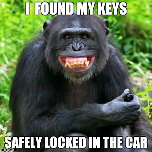 Keep Smiling | I  FOUND MY KEYS SAFELY LOCKED IN THE CAR | image tagged in keep smiling | made w/ Imgflip meme maker
