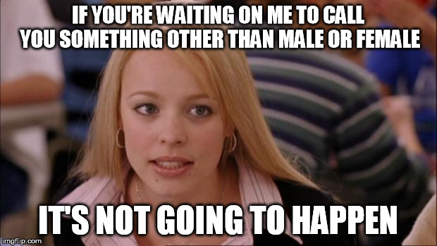 Its Not Going To Happen Meme | IF YOU'RE WAITING ON ME TO CALL YOU SOMETHING OTHER THAN MALE OR FEMALE IT'S NOT GOING TO HAPPEN | image tagged in memes,its not going to happen | made w/ Imgflip meme maker