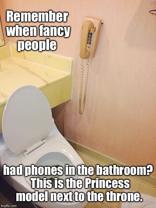 Remember when fancy people had phones in the bathroom?  This is the Princess model next to the throne. | made w/ Imgflip meme maker