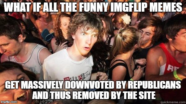 Imgflip Republicans | WHAT IF ALL THE FUNNY IMGFLIP MEMES GET MASSIVELY DOWNVOTED BY REPUBLICANS AND THUS REMOVED BY THE SITE | image tagged in what if rave,republicans,imgflip | made w/ Imgflip meme maker