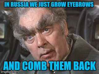 IN RUSSIA WE JUST GROW EYEBROWS AND COMB THEM BACK | made w/ Imgflip meme maker