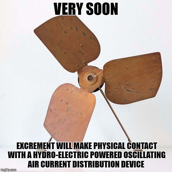 Shit hitting the fan | VERY SOON EXCREMENT WILL MAKE PHYSICAL CONTACT WITH A HYDRO-ELECTRIC POWERED OSCILLATING AIR CURRENT DISTRIBUTION DEVICE | image tagged in shtf | made w/ Imgflip meme maker