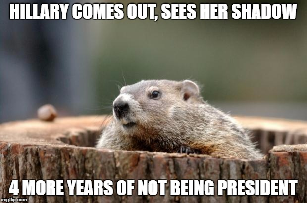 Groundhog | HILLARY COMES OUT, SEES HER SHADOW 4 MORE YEARS OF NOT BEING PRESIDENT | image tagged in groundhog,hillary clinton | made w/ Imgflip meme maker