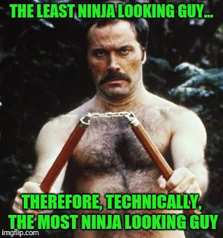 Ninja Paradox | THE LEAST NINJA LOOKING GUY... THEREFORE, TECHNICALLY, THE MOST NINJA LOOKING GUY | image tagged in ninja | made w/ Imgflip meme maker