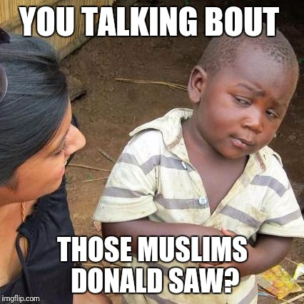 Third World Skeptical Kid Meme | YOU TALKING BOUT THOSE MUSLIMS DONALD SAW? | image tagged in memes,third world skeptical kid | made w/ Imgflip meme maker