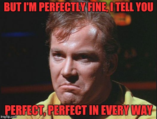 Kirk is being a poo poo head | BUT I'M PERFECTLY FINE, I TELL YOU PERFECT, PERFECT IN EVERY WAY | image tagged in kirk is being a poo poo head | made w/ Imgflip meme maker