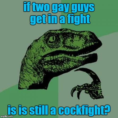 Philosoraptor Meme | if two gay guys get in a fight is is still a cockfight? | image tagged in memes,philosoraptor | made w/ Imgflip meme maker