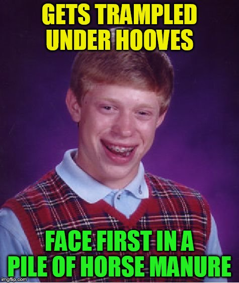 Bad Luck Brian Meme | GETS TRAMPLED UNDER HOOVES FACE FIRST IN A PILE OF HORSE MANURE | image tagged in memes,bad luck brian | made w/ Imgflip meme maker