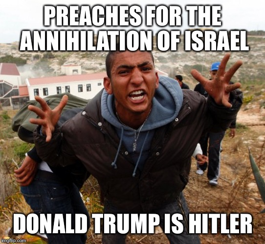 Entitled Refugee Ahmed |  PREACHES FOR THE ANNIHILATION OF ISRAEL; DONALD TRUMP IS HITLER | image tagged in entitled refugee ahmed | made w/ Imgflip meme maker