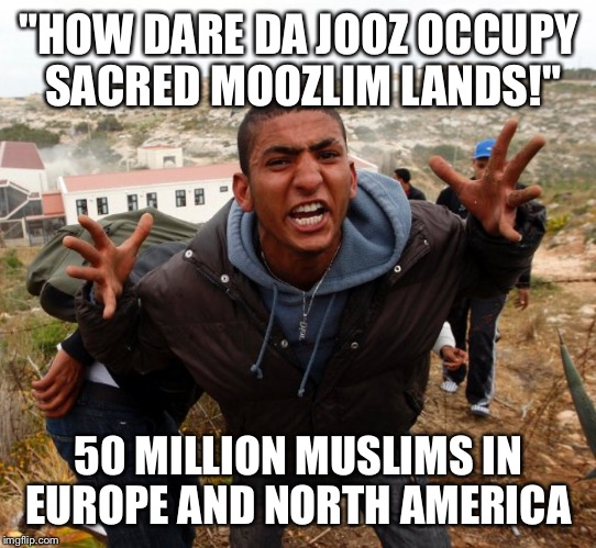 "Entitled Refugee Ahmed |  ""HOW DARE DA JOOZ OCCUPY SACRED MOOZLIM LANDS!""; 50 MILLION MUSLIMS IN EUROPE AND NORTH AMERICA 