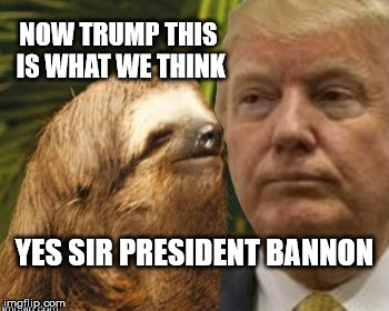 President Bannon | NOW TRUMP THIS IS WHAT WE THINK YES SIR PRESIDENT BANNON | image tagged in political advice sloth,trump,bannon,president bannon | made w/ Imgflip meme maker