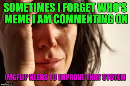 First World Problems Meme | SOMETIMES I FORGET WHO'S MEME I AM COMMENTING ON IMGFLIP NEEDS TO IMPROVE THAT SYSTEM | image tagged in memes,first world problems | made w/ Imgflip meme maker