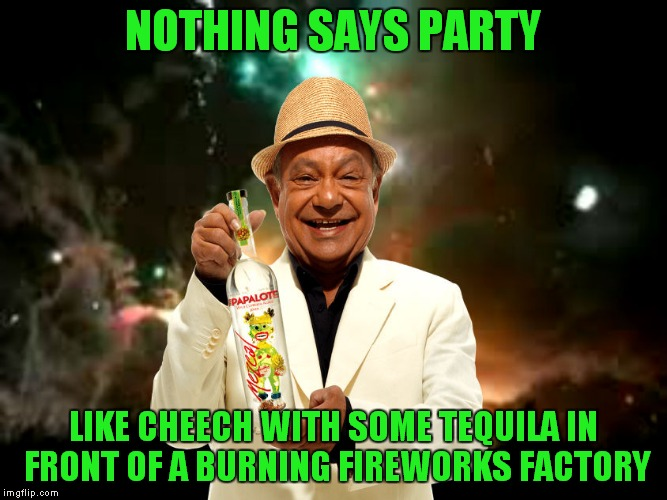 Why not | NOTHING SAYS PARTY LIKE CHEECH WITH SOME TEQUILA IN FRONT OF A BURNING FIREWORKS FACTORY | image tagged in cheech | made w/ Imgflip meme maker