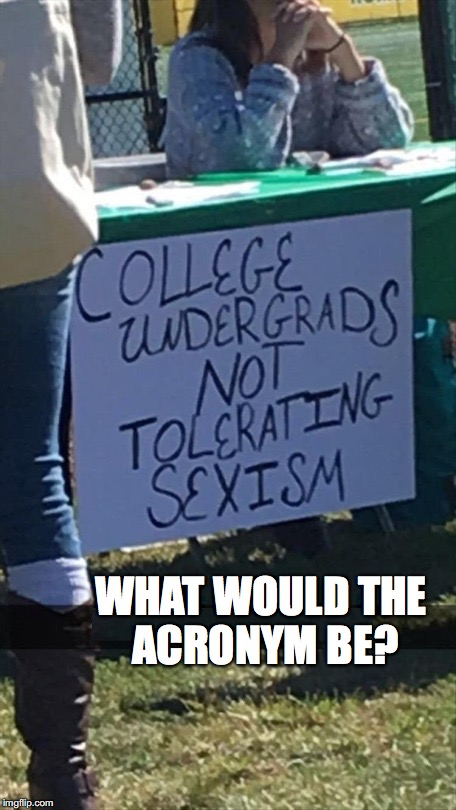Sign of the Times |  WHAT WOULD THE ACRONYM BE? | image tagged in sexism,sexual harassment,college liberal,safe space | made w/ Imgflip meme maker