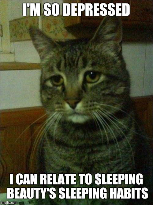 Depressed Cat |  I'M SO DEPRESSED; I CAN RELATE TO SLEEPING BEAUTY'S SLEEPING HABITS | image tagged in memes,depressed cat | made w/ Imgflip meme maker