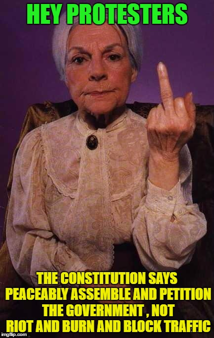 middle finger grandma | HEY PROTESTERS THE CONSTITUTION SAYS PEACEABLY ASSEMBLE AND PETITION THE GOVERNMENT , NOT RIOT AND BURN AND BLOCK TRAFFIC | image tagged in middle finger grandma | made w/ Imgflip meme maker