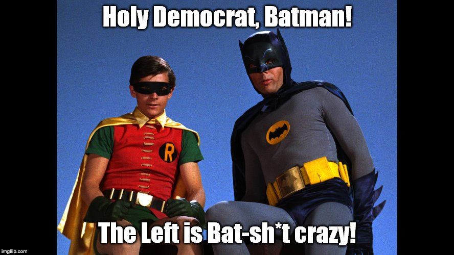 Holy Democrat, Batman! The Left is Bat-sh*t crazy! | image tagged in batman robin | made w/ Imgflip meme maker