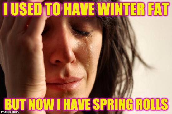 First World Problems Meme | I USED TO HAVE WINTER FAT BUT NOW I HAVE SPRING ROLLS | image tagged in memes,first world problems | made w/ Imgflip meme maker