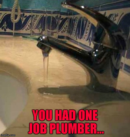 You'd think someone might have noticed!!! | YOU HAD ONE JOB PLUMBER... | image tagged in bad plumber,memes,funny,you had one job,faucet follies,plumber | made w/ Imgflip meme maker
