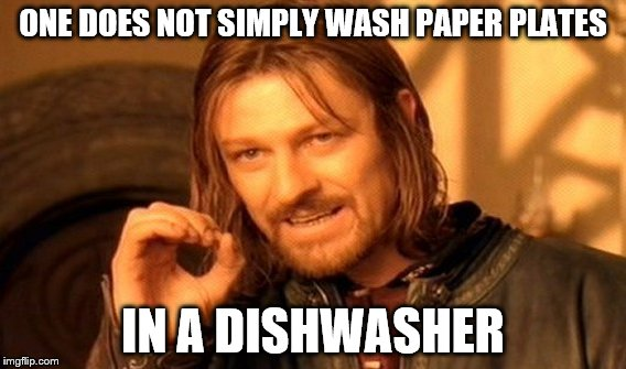 One Does Not Simply Meme | ONE DOES NOT SIMPLY WASH PAPER PLATES IN A DISHWASHER | image tagged in memes,one does not simply | made w/ Imgflip meme maker