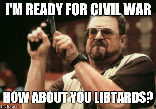 Am I The Only One Around Here Meme | I'M READY FOR CIVIL WAR HOW ABOUT YOU LIBTARDS? | image tagged in memes,am i the only one around here | made w/ Imgflip meme maker