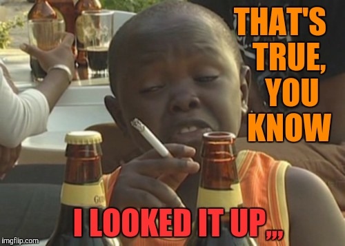 Smoking kid,,, | THAT'S   TRUE,    YOU   KNOW I LOOKED IT UP,,, | image tagged in smoking kid | made w/ Imgflip meme maker